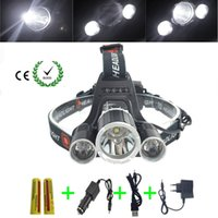 Wholesale PANYUE LM LED C XML T6R5 Headlamp Headlight Head Lamp Camping Fishing Light Flashlight battery Car USB AC Charger
