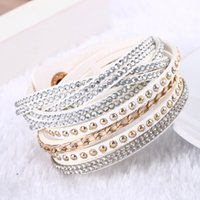 Wholesale Multilayer Leather Button Bracelet Vintage Crystal Rhinestones Charm Bracelets Jewelry For Women Pulsera Statement Jewelry