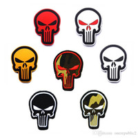 army fleece fabric - 30PCS Punisher Skull D ARMY Embroidered PVC Applique Patch Tactical Hook Loop Military Patches Morale Armband Badge
