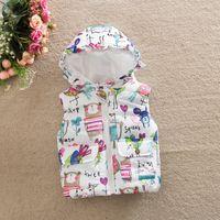 Wholesale Girl s New Arrival Animal Print Hooded Cotton Padded Waistcoat Girl Padding Cotton Vest For Winter Season