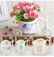 bicycle plant stand - Christmas Home Garden New Arrival Rattan bicycle Storage Basket floats Vase Plant Stand Holder Tricycle Bike Design organizer Flower Basket