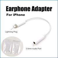 Earphone Adapter For Apple 3.5mm female to lighting male For iPhone 7 Plus 7plus Newest Earphone Headphone Adapter Converter Cable 3.5mm Audio Jack to Lighting Headset Connector Cord