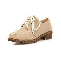 Chaussures simples talons Avis-Prix de vente Femmes Vintage Chunky Bas Talons Chaussures Casual Mode Chaussures Fashion Design Lace Up Solide Plaine Round orteil Platform Pumps