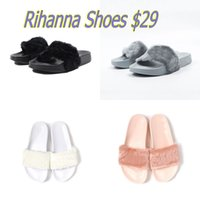 ballet slippers white - Send With Original Boxes Leadcat Fenty Rihanna Shoes Women Slippers Indoor Sandals Girls Fashion Scuffs Pink Black White