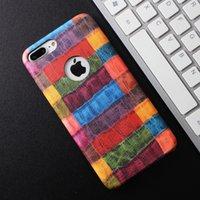 Teléfonos celulares casos de cuero Baratos-Para el iphone rojo 7 7 más 6S más Colofully la caja suave de cuero del cuero de la PU del cocodrilo TPU Cell Phone Cases