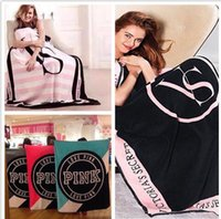 Wholesale Hot Pink Letter Blankets Coral Fleece Blanket Sofa Air Condition Blankets Catwalk Dimensional Beadding Christmas Gifts DHL