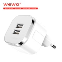 Wholesale Original WEWO Adapters for chargers Dual USB Wall Charger Home Travel Adapter For smart phone V A Quick Charger High Quality