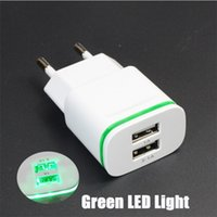Wholesale Chinese Led Wall Lights - Hot-sale High Quality EU US Plug 2.0A 1.0A Wall Charger Mini Dual Ports USB LED Green Light Fast Charging Power Adapter