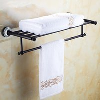Brass antique bathroom accessories - Europe Towel Shelf Kitchen Towel Holder Bathroom Metal Holder And Hangers Antique Black Bronze Bathroom Accessories