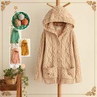 Wholesale Women sweater autumn Japanese mori girl thick sweater kniting cardigan hooded loose cute cardigan women