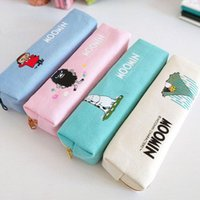 Wholesale J26 Kawaii Cute Moomin Canvas Pen Bag Pencil Holder Storage Case School Supply Birthday Gift Cosmetic Makeup Travel
