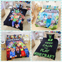 achat en gros de 3d bed set-Cadeau de Noël chaud en stock 4 Styles Minecraft Literie Enfants 3D Literie Ensembles Cartoon My Bedding minecraft Steve Kids Ensemble de lit creeper