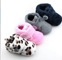 Wholesale Winter Children Girls Boys Fashion Solid Leopard Boots Baby Foot Wear Toddler Sofe Warm Snow Boots Prewalker Velvet Shoes B4356
