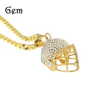 Pendant Necklaces alternative diamonds - Hip Hop Stainless Steel Diamond Helmet Pendant Riding Baseball Helmet Alternative Individual Jewelry Golden Pendant Necklace