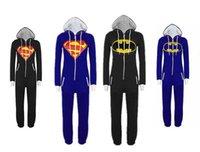 Traditional Onesies Cotton Blend Superman One Piece Sleepsuit Sleepwear Batman Onesies Adult Men And Women Pyjamas Cotton Blended Blue Black S-2XL