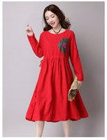 autumn the nation - In The Autumn Of The New Nation Printed Cotton And Linen Loose Waist Long Sleeved Dress Big Yards Dress