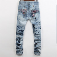 Wholesale Men Straight Jeans Classic Denim Trousers Robin For Men High Quality Cotton Jeans Fried Snow Slim Jeans Rhinestone Decoration