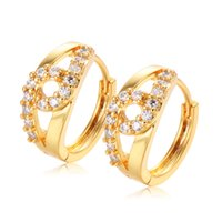 baby girl gold earrings - Baby Kids Jewelry Yellow Gold Plated Lucky Double Cubic Zirconia Small Hoop Earrings For Girls Children
