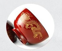 Wholesale Red Carved Dragon And Phoenix Natural High Quality JUJUBE Wooden rounded Bowl