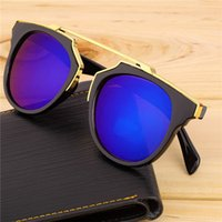 Wholesale High Quality Fashion Sunglass cat eye coating sunglasses women brand designer vintage sun glasses for men
