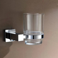 Wholesale Fashion Chrome Plated Brass Bathroom Toothbrush Cup Holder Shelf Rinsing With Glass Cup Sanitary Ware Accessories