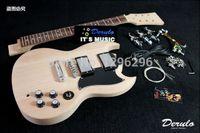 Venta al por mayor- envío libre Productos semiacabados de guitarra eléctrica de alto grado Enchufe el cuerpo de piano de caoba de la clase A de la guitarra de SG DIY del cuello