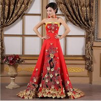 Wholesale 2017 Luxury Yellow Flower Embroidery Evening Gowns Pregnant Women Cheongsam Long Qipao Chinese Traditional Wedding Dress