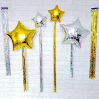 balloon ribbon - Star balloon Sliver cord ribbon wedding balloons Marriage decoration balloon Mylar Foil balloons set Party Decoration JF