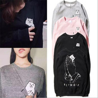 american standard cat - Original Brand Harajuku Style Ripndip European And American Men Women Pocket Finger printed Hoodies Loves Fleece Cat Print Sweatshirt