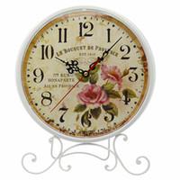 antique standing desk - Retro European Pastoral Style Metal Standing Table Clock Home Decoration Desk Clock Watch Reloj