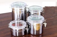 Wholesale Hot sale Sizes Coffee Tea Sugar Storage Tanks Sealed Cans Stainless Steel Canisters Kitchen Storage pot
