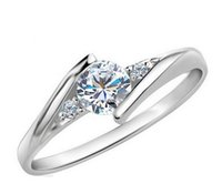 Wholesale Zirkon Ruby Crystal Fashion Silver Plated CZ Diamond Jewelry Wedding Rings Rose Gold Plated Charming Jewellery Women Bijoux J045