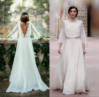 Satin bell formal dress - Gorgeous Country Wedding Dress Bohemian Boho Bridal Gowns Bateau Neck Bell Sleeves Backless Brides Formal Wear Ruffed Lace Edge Sweep Train