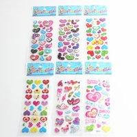 Wholesale 6sheets Art Heart Shape Scrapbooking Crystal Stickers Romantic Kawaii Emoji Reward Kids Children Fashion Craft