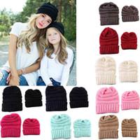 adult baby bonnet - 2Pcs Mom And Baby Winter Hats Fashion Crochet Knitting Keep Warm Beanie Cap Hat Chapeau Enfant Bonnet Femme