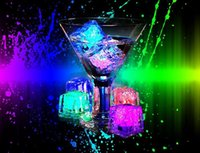 Wholesale Christmas Decoration Lighted Ice Cubes - LED Light Ice Cubes Flash Liquid Sensor Water Submersible LED Glow Light Up for Bar Club Wedding Party Champagne Tower Christmas Decoration