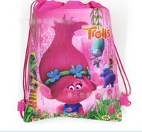 Backpacks cartoons party - Trolls Kids Backpacks Moana Drawstring Bags Cartoon Non Woven Sling Bag School Bags Girls Party Gift Bag Birthday