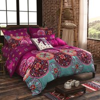 Wholesale Classic Boho Style Full Queen Size Bedding Set with Pillowcovers Quilt Cover Bed Sheet