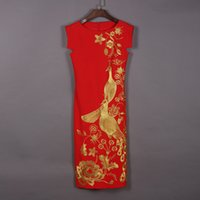 Wholesale new cheongsam Star of the same paragraph Peacock embroidery dress