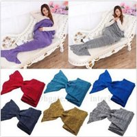 Wholesale Mermaid Tail Blankets Knit Mermaid Tail Blankets Handmade Mermaid Blankets Crochet Mermaid Tail Sleeping Bags Super Soft Sofa Blanket B1387