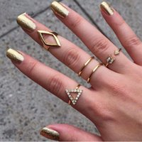 Wholesale R005 K gold Plating Rhinestone Trangle rhombus Arrow Finger Rings Set set Fashion Jewelry