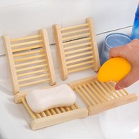 Wholesale Natural Bamboo Wood Soap Dish Storage Soap Holder Bath Shower Plate Bathroom Accessories