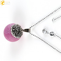 b beaded necklaces - CSJA Spring Fashion Pendant Necklace for Female Gift of Love Round Ball Bead Natural Agate Stone Pendants with Beaded Chain E300 B