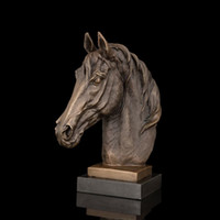 antique marble sculpture - Arts Crafts Copper Best Selling Souvenirs Bronze sculpture Horse Head Figurine Animal Bust Statue Marble Base Brass Horse Statue