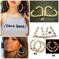 Wholesale Women Fahsion Jewelry Hot Selling Big Bamboo Eearrings Exaggerated Hiphop Earrings Gold Circle Earrings Style CK1044