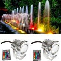 al por mayor 12v ir reflectores-La mejor luz subacuática llevada impermeable 16 color que cambia la lámpara de la fuente de la charca de la piscina del RGB LED 10W 12V reflector de RGB con el telecontrol de 24Key IR 10 sistemas