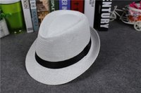 Wholesale Kids Summer Fedora Trilby Beach Hats for Boy and Girls Grass Straw Panama Wide Brim Topee