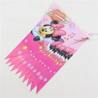 Wholesale Decoration Pennats Kid Favors Baby Shower Party Banners Minnie Mouse Paper Flags Happy Birthday Supplies Tableware pc