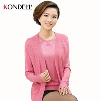 age knitted clothing - KONDELL Winter Autumn Women Two Pieces Knitted Sweaters Pullovers Plus Size Beaded Cashmere Sweater Middle aged Mother Clothing