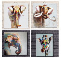 Wholesale 4pcs Cartoon Elephants and Deer High Quality genuine Hand Painted Wall Decor Abstract Animal Art Oil Painting On Canvas ali Daf